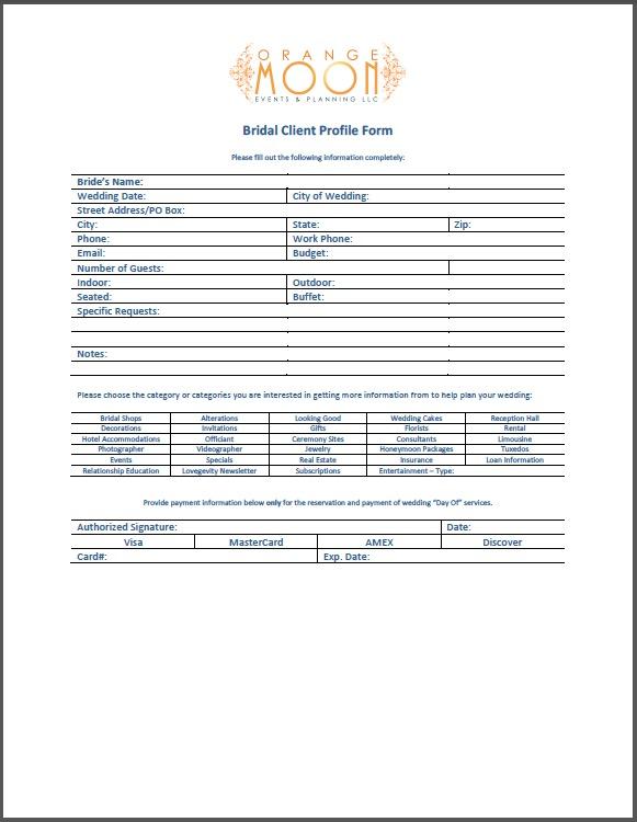 3.1 – Bridal Client Profile Form | Orange Moon